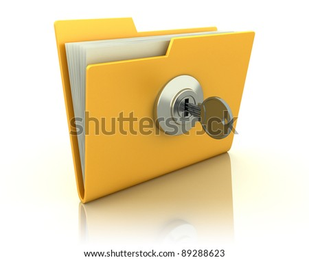 Yellow computer folder with key. Isolated 3d image - stock photo