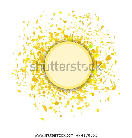 Yellow Confetti Round Banner Isolated on White Background. Set of Particles.