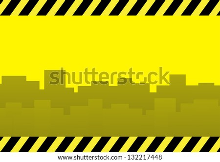 yellow construction background with skyscraper and space for text - stock photo