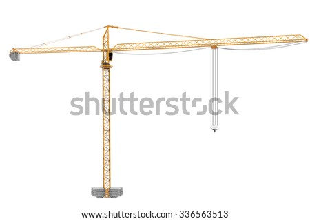 Yellow construction crane tower isolated on white background with clipping path