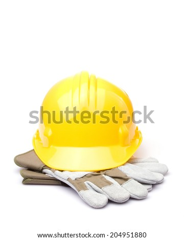 yellow construction hat and gloves