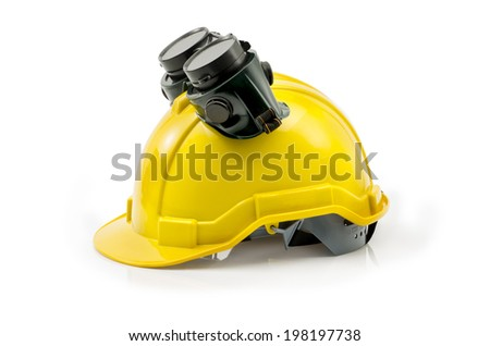Yellow construction helmet and Protective Eye wear isolated on white Clipping path - stock photo