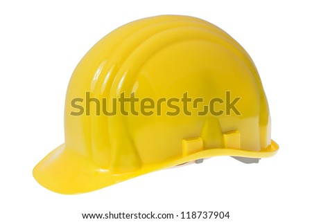 Yellow construction safety hard hat isolated on white background - stock photo