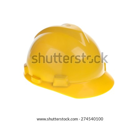 Yellow constructional helmet isolated on white background - stock photo