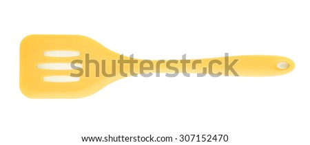 Yellow cooking silicone spatula isolated over the white background - stock photo