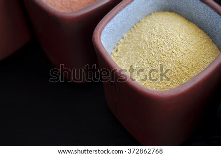 Yellow cosmetic clay powder