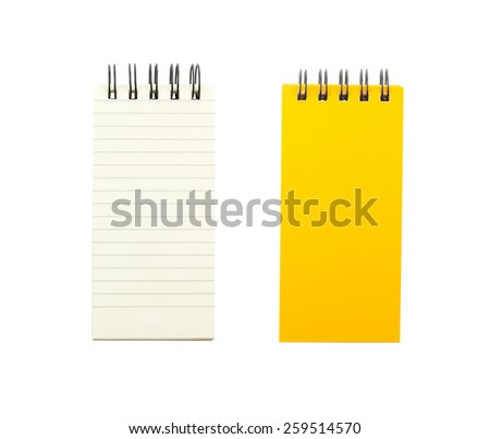 Yellow cover note book and blank paper isolated on white background - stock photo