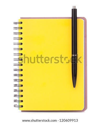 Yellow cover notebook with black pen isolated on white background cutout