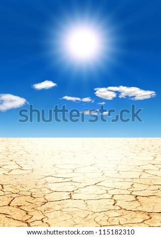 Yellow cracked ground - stock photo