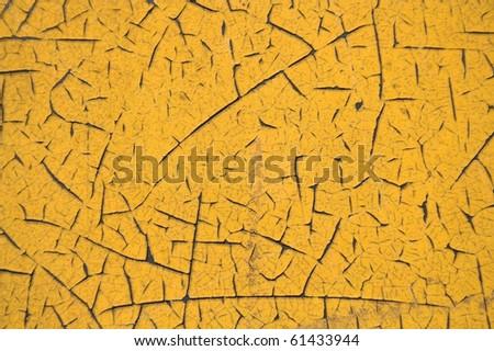 Yellow cracked texture - stock photo