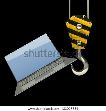 Yellow crane hook lifting laptop isolated on black background High resolution 3d illustration - stock photo