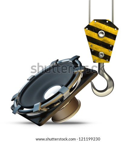 Yellow crane hook lifting Loudspeaker isolated on white background High resolution 3d illustration - stock photo