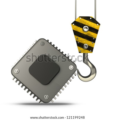 Yellow crane hook lifting Processor unit CPU isolated on white background High resolution 3d illustration - stock photo