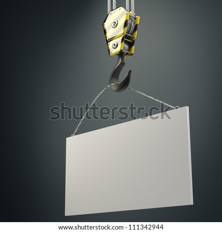 Yellow crane hook lifting white blank plane  3d illustration, High resolution - stock photo