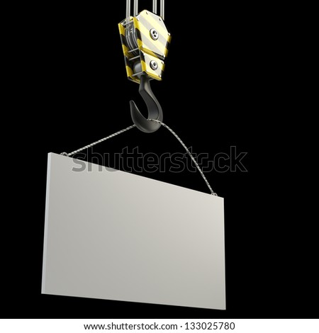 Yellow crane hook lifting white blank plane, isolated on black background 3d illustration, High resolution - stock photo