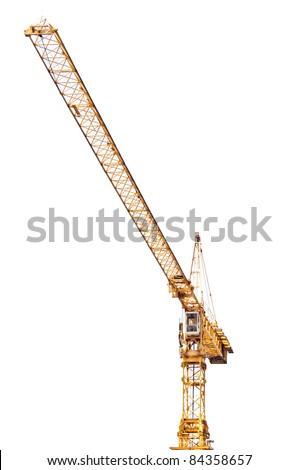 Yellow crane isolated on white background - stock photo
