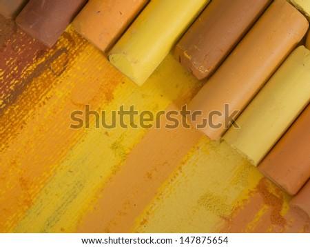 yellow crayons - stock photo