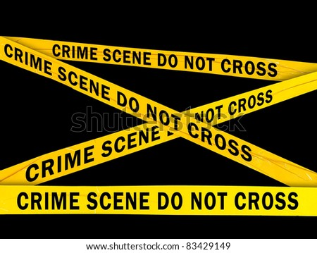 Yellow crime scene barrier tape