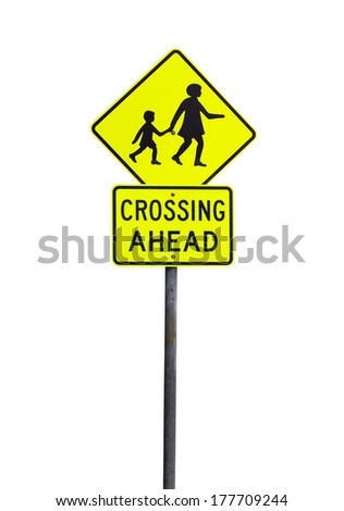 yellow crossing ahead sign over white