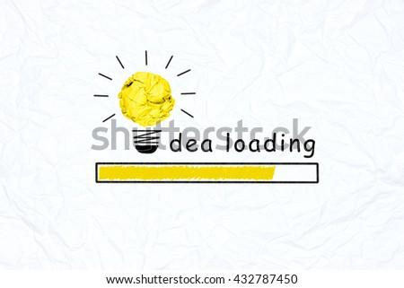 yellow crumpled paper light bulb graph increasing with white paper background creative inspiration concept metaphor for thinking time/waiting thinking/idea loading/prepare concept/increase progress - stock photo
