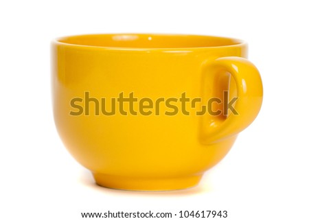 Yellow cup isolated on white background
