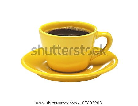 Yellow cup of coffee on plate isolated on white background