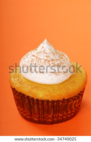 Yellow cupcake with vanilla frosting and sprinkled with cocoa powder - stock photo