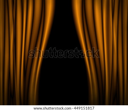 Yellow curtains on theater or cinema stage
