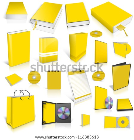 Yellow 3d blank cover collection, isolated on white