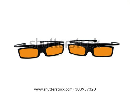 Yellow 3d Glasses isolated on white - stock photo