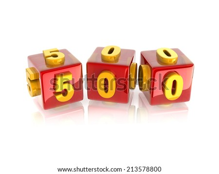 yellow 3d number 500 on reflective red cubes. - stock photo