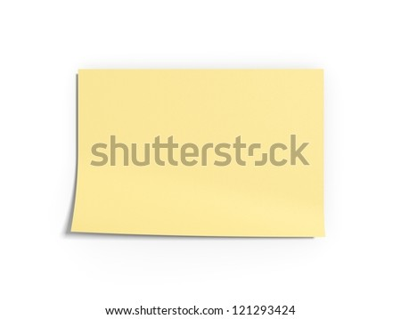 Yellow 3d texturized note in a white isolated background