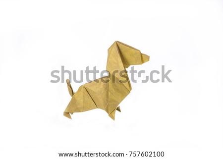 Yellow Dachshund Origami On White Background Stock Photo Royalty