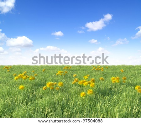 Yellow dandelion flowers on blue sky background, spring photo (3D render)