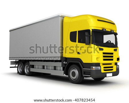 Yellow delivery truck on a white background.3D illustration. - stock photo