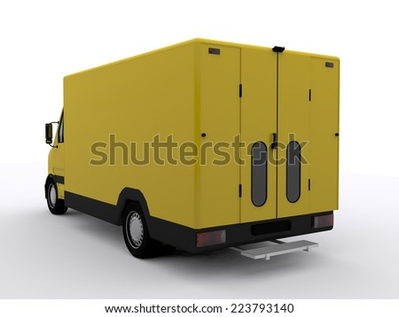 yellow delivery van - stock photo