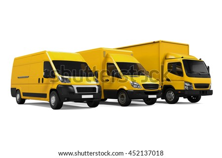 Yellow Delivery Vans. 3D rendering