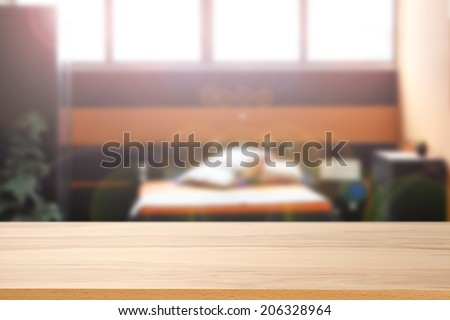 yellow desk and bed room  - stock photo