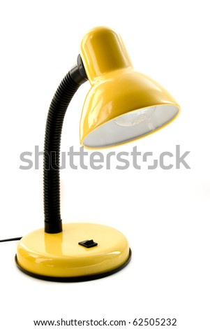 yellow desk lamp isolated on a white background