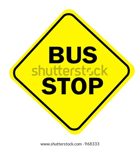 Yellow Diamond Bus Stop 1 Sign isolated on a white background