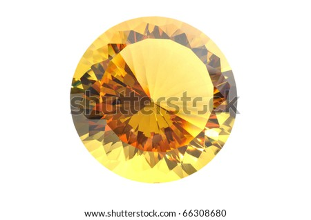 Yellow diamond close up, with a clipping path - stock photo