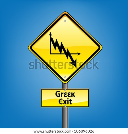 Yellow diamond hazard warning sign against blue sky - euro crisis greek bankruptcy ahead indication, grexit