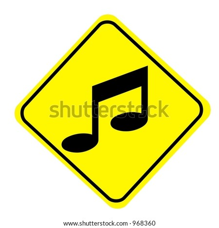 Yellow Diamond Musical Note Sign isolated on a white background