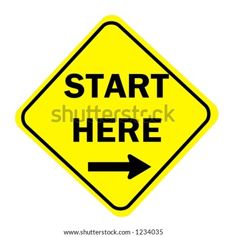 Yellow Diamond start here with right arrow sign isolated on a white background - stock photo