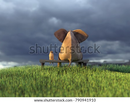 yellow dog and elephant on green grass field, 3d illustration