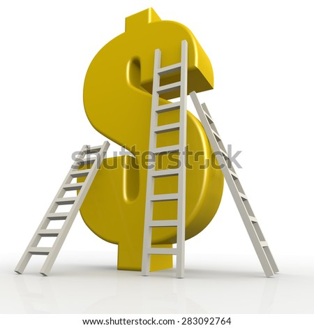 Yellow dollar sign with white ladder image with hi-res rendered artwork that could be used for any graphic design. - stock photo