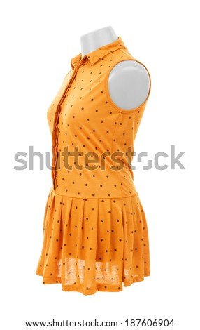 yellow dress on a hanger on a white background - stock photo