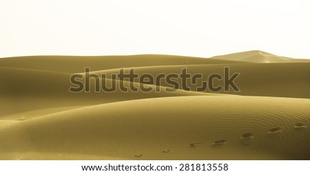 Yellow dunes in Chigaga desert, Morocco, North Africa - stock photo