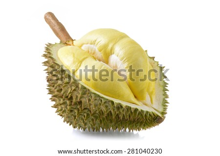 yellow durian in side Mon Thong durian fruit on white background - stock photo
