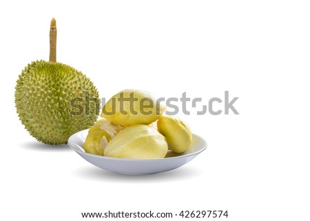 Yellow durian of Mon Thong fruit/Durian peeled/fruit plate/tropical durian fruit/durian on white/fruit marketing/popular Asia fruit/fruit bowl/fruit plantation/durian for serve/King of fruit